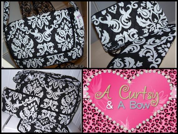 Black & White  Damask Monogrammed Diaper Bag