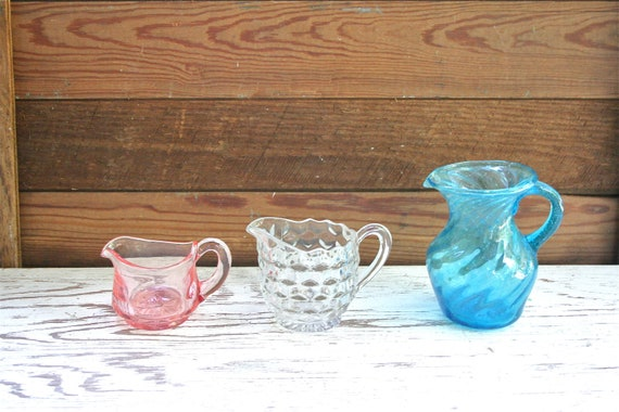 Three Antique 1940s Small Glass Pitchers