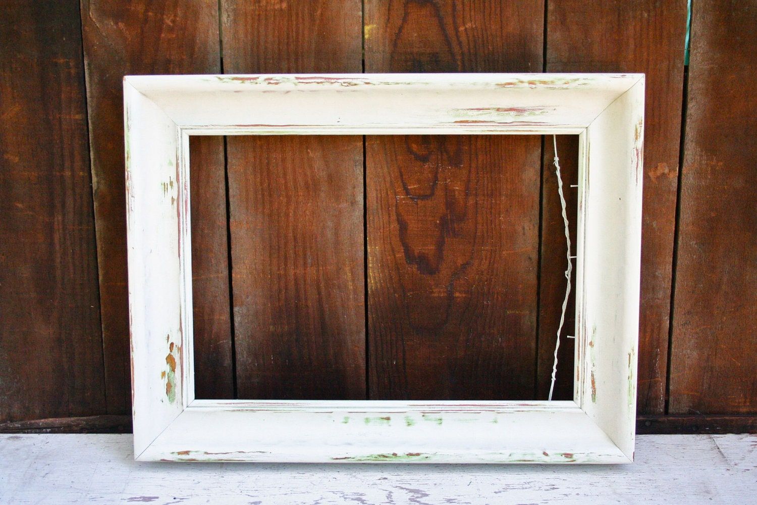 Vintage LARGE Wood Upcycled Antique White Distressed Frame