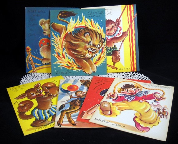 Vintage Greeting Cards Get Well Set of 7 Circus Theme