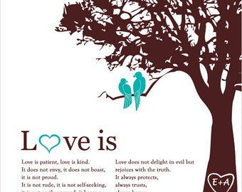 Valentines day gift family Tree Personalized Wedding Anniversary wife for her Wedding Tree Art Love birds in Tree Print