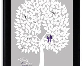 Guest book tree, wedding guestbook poster, wedding tree print, guest book ideas, personalized wedding gift, love birds wedding, guestbook