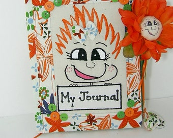 "Journal Diary Blank Book PinHead Happy Face (TM) Journal with Message ""My Journal"""