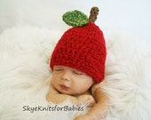Crocheted Little Red Apple Baby Hat - Beautiful Photography Prop