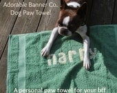 Dog paw drying towel, personalized for pets.