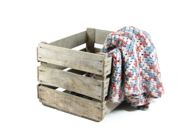 Vintage Wood Crate Box Wooden Crate Fruit Crate Storage Crate Natural Wood Box