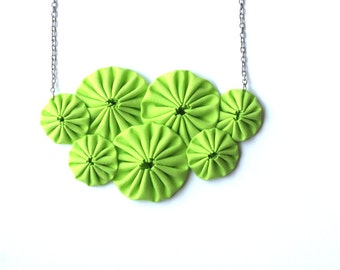 Neon green bib fabric  yoyo necklace