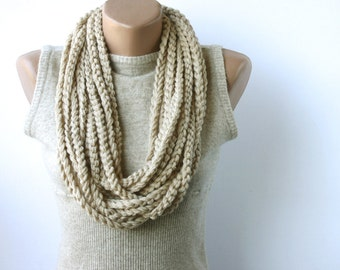 Oatmeal infinity scarf - crochet scarf - circle scarf - beige neutrals gift under 20 for women fall fashion winter accessories Chain scarf