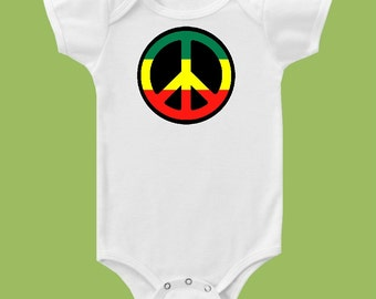 Rasta Peace Sign, One Piece Baby,Jamaica, Green yellow red, Baby gift, Birthday Shirt,  Tank or T Shirt by ChiTownBoutique.etsy