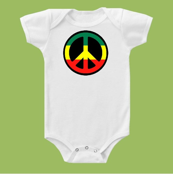 Rasta Peace Sign, One Piece Baby, Green yellow red, Baby gift, Birthday Shirt,  Tank or T Shirt by ChiTownBoutique.etsy