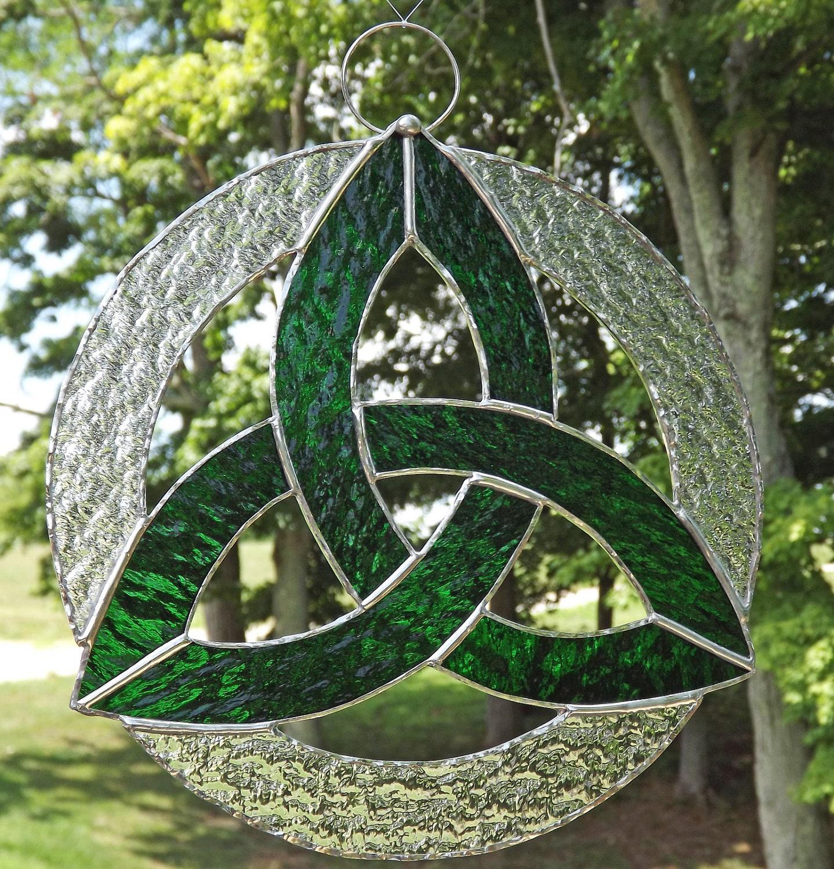 Irish Celtic Knot Trefoil Stained Glass Suncatacher Kelly