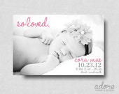"""Modern """"So Loved"""" Baby Birth Announcement - Printable Digital File- CHOOSE YOUR COLORS"""
