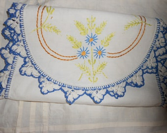 Dresser Scarf Embroidered Vanity Runner  - Crotcheted Lace Edging- Romantic Cottage Antique