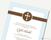 Simple First Communion, Baptism, Christening or Confirmation Invitation - Printable