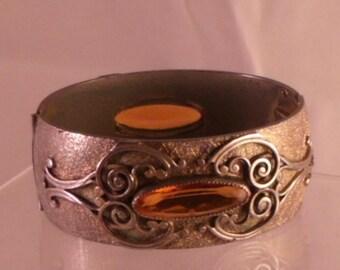 Vintage Cuff Bracelet Gold Antique Metal Ornate Huge Topaz  Rhinestone