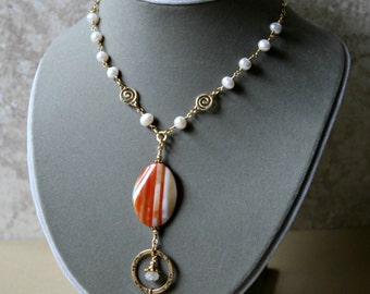Eyeglass Necklace, ID Holder, Lanyard, Banded Agate and Pearls Gold Accented Eyeglass Holder Necklace