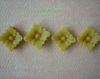 4PCS - Spring Collection - Yellow - Buttercup Resin Flower Cabochons - 12mm - Matte Finish - Cabochons by ZARDENIA
