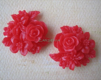 2PCS - Mixed Bouquet Cabochons - 25mm - Red - New Arrival - Cabochons by ZARDENIA