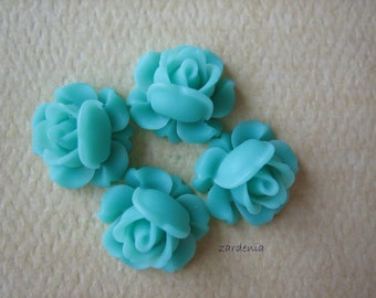 4PCS - Mini Cabbage Rose Flower Cabochons - 12mm - Resin - Turquoise - Findings by ZARDENIA