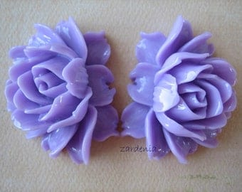 Purple Ruffle Rose Cabochons, 45x35mm, Purple Rose Cabs, Limited Edition, Large Rose Cabochons, Crafts and Supplies, Diy Jewelry, Zardenia