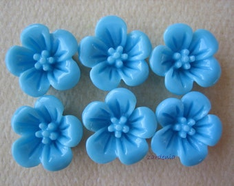 6PCS - Violet Flower Cabochons - 13mm - Resin - Blue - Findings by ZARDENIA