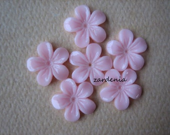 6PCS - Mini Violet Flower Cabochons - 11mm - Resin - Pink - Cabochons by ZARDENIA