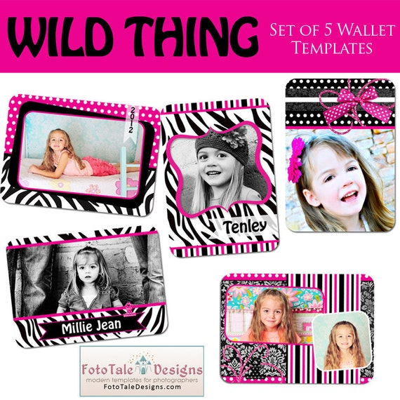 INSTANT DOWNLOAD - Wild Thing Custom Wallet Templates- Set of 5 custom photo templates for photographers