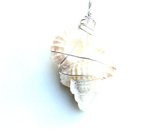 ivory white seashell pendant.  eco friendly Sterling wrapped maple leaf seashell pendant. nautical beauty ornament