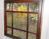 30 x 30  square walnut stained   mirror