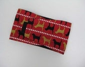 Belly Band Diaper for Dog Doggie Puppy- Dogs on Red with Black Fleece liner  XXS - L