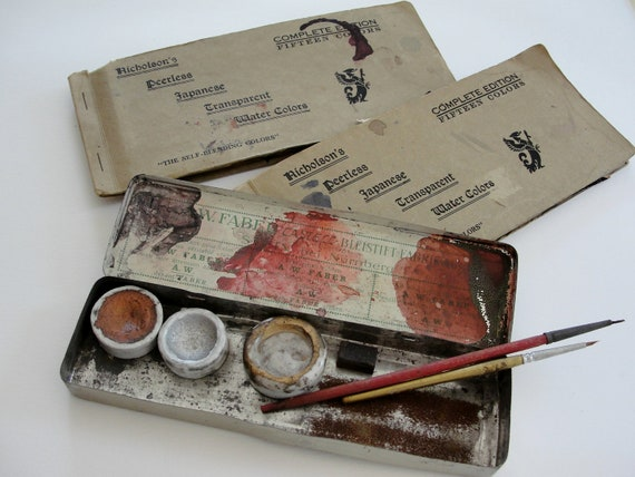 Vintage Art Supply, Vintage Watercolor Tin, Nicholson Peerless Transparent Watercolors, A. W. Faber Castell Watercolor Tin and Accessories