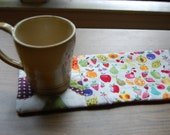 Cotton Contemporary Fruit themed Quilted Mug Rug