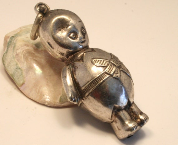 Vintage baby rattle. Doll. EPNS. Can be worn as a pendant.