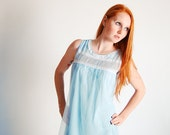 Vintage 1960s Nightgown - 60s Babydoll Nightgown - Powder Blue