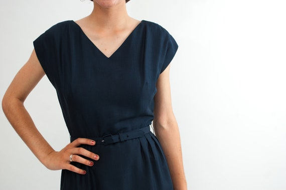 Vintage 1950s Wiggle Dress - 50s Cocktail Dress - Navy Blue with Matching Jacket