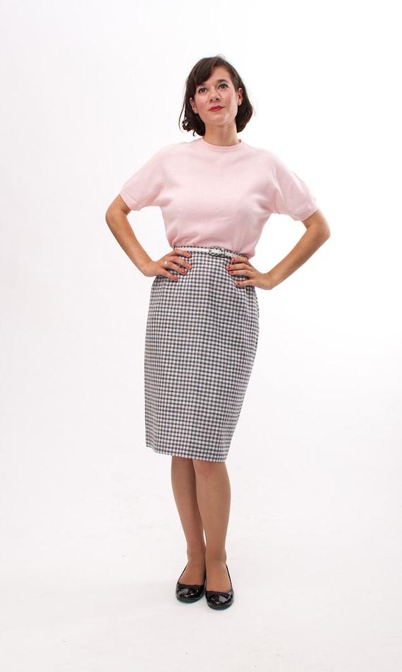 vintage 1960s pencil skirt 60s pencil skirt grey white