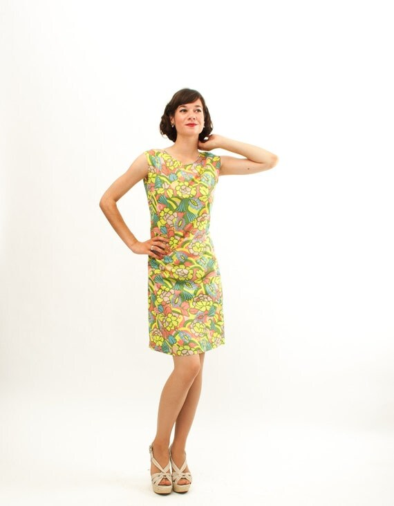 Vintage 1960s Shift Dress - 60s MOD Dress - Muted Neon Floral Print