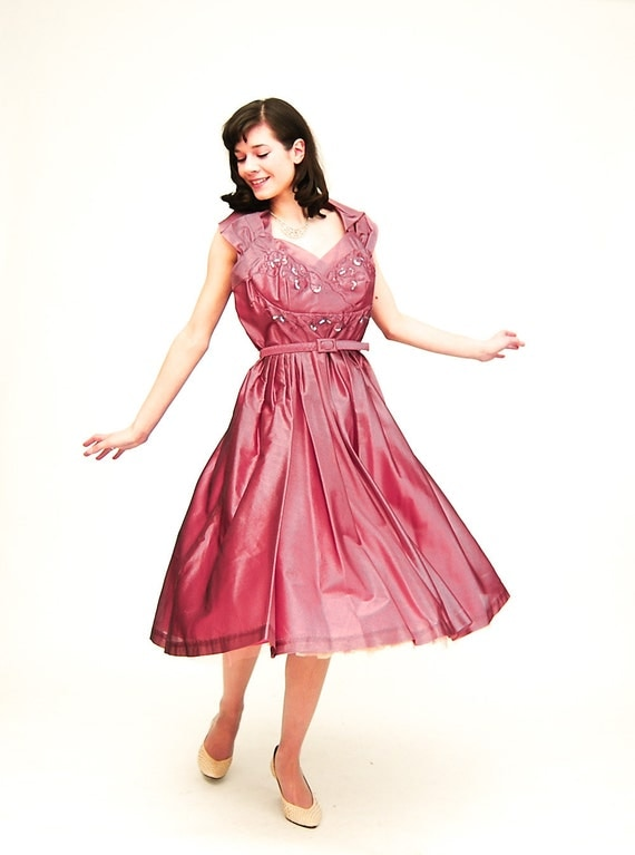 RESERVED on LAYAWAY - Vintage 1950s Party Dress - 50s Party Dress - Metallic Dusty Plum Organza