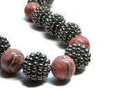 Rhodochrosite Chunky Necklace, Rose Smoke, Titanium,