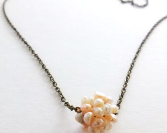 Rose pink pearl necklace-freshwater pearl pendant necklace