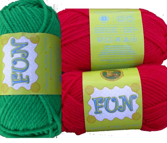 Christmas in July Lion Brand Fun Yarn, Acrylic, 2 skeins each Red and Green, knit crochet, kids, worsted