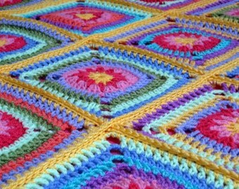 Crochet Pattern Tutti Frutti Daisy Granny Squares Blanket Afghan Instant Download