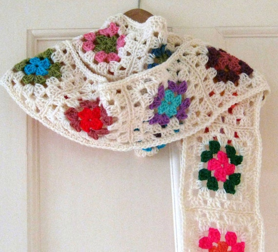 Snow White Ivory Long Crochet Granny Square Scarf Granny Chic