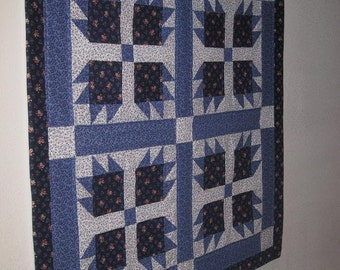 Vintage 80s Blue & White Bear Paw Mini Quilt Wall Hanging Table Topper-Handmade Southwestern/Farmhouse Small Quilt-Blue Quilt Home Decor