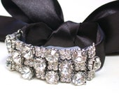 Bridal Crystal Rhinestone And Satin Ribbon  Bracelet - Perfect for Bride, Wedding, Bridesmaids And Formal