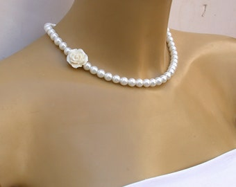 Pearl Necklace Bridal Pearl Necklace Vintage Style In White Crystal Pearls And One Vintage Rose Perfect for Bride, Wedding  And  Bridesmaids