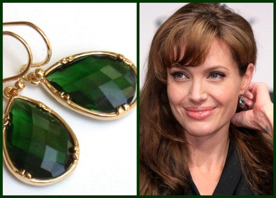 Emerald Earrings Angelina Jolie's Inspired Gorgeous Gold & Emerald Green Crystal Earrings