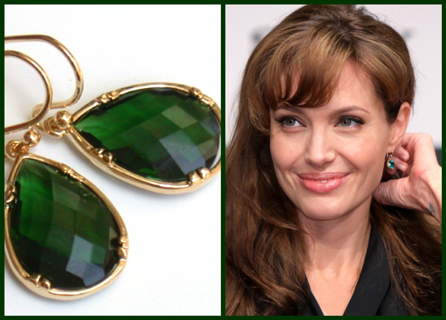 Emerald Earrings Angelina Jolie S Inspired Gorgeous Gold