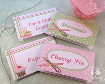 Baking Party Custom Tent Place Cards - Bake Shoppe Collection