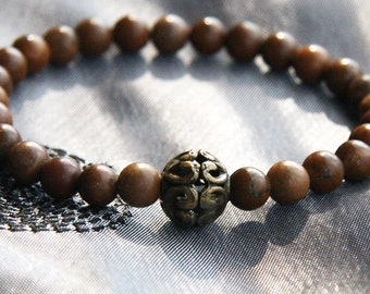 Minimal Bracelet, Stackable Bracelet, Thin Bracelet, Natural Brown Stone Bracelet, Dark Bronze Bali Bead, Boho Tribal Bracelet